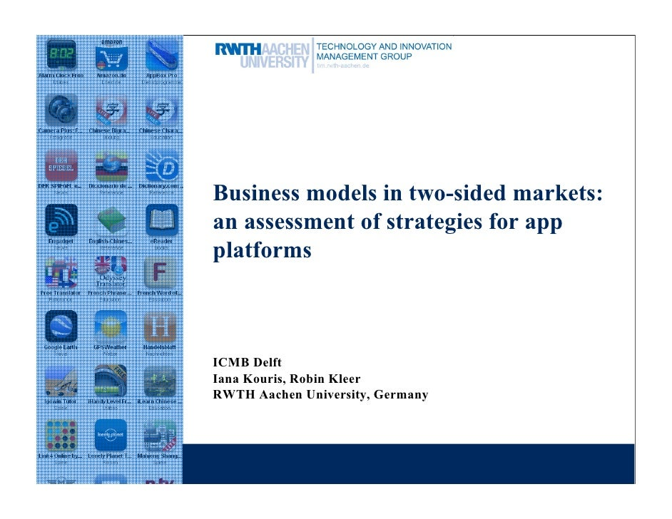 Business models in two-sided markets:an assessment of strategies for appplatformsICMB DelftIana Kouris, Robin KleerRWTH Aa...