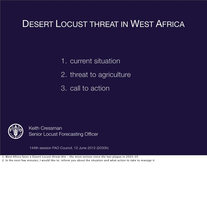 Desert Locust threat to W Africa (144th FAO Council, 12 June 2012)