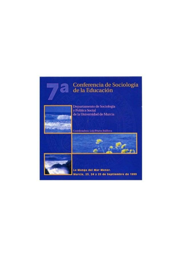 VII Conferencia de Sociología de la Educación en la Universidad de Murcia