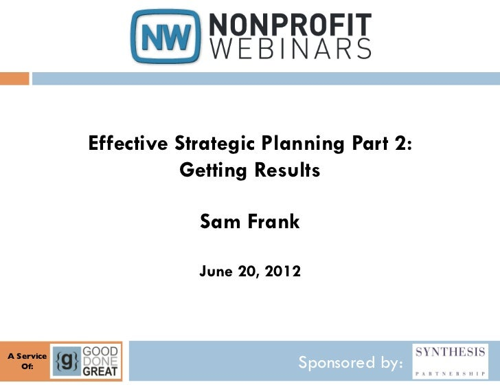 Effective Strategic Planning Part 2: Getting Results