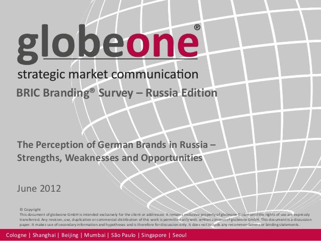 globeone BRIC Branding Survey - Russia Edition