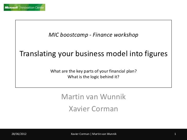 MIC boostcamp - Finance workshop     Translating your business model into figures              What are the key parts of y...