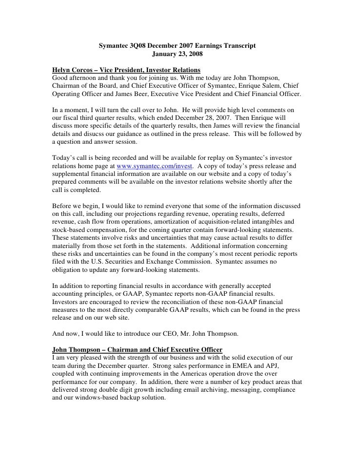 Symantec 3Q08 December 2007 Earnings Transcript                                 January 23, 2008  Helyn Corcos – Vice Pres...