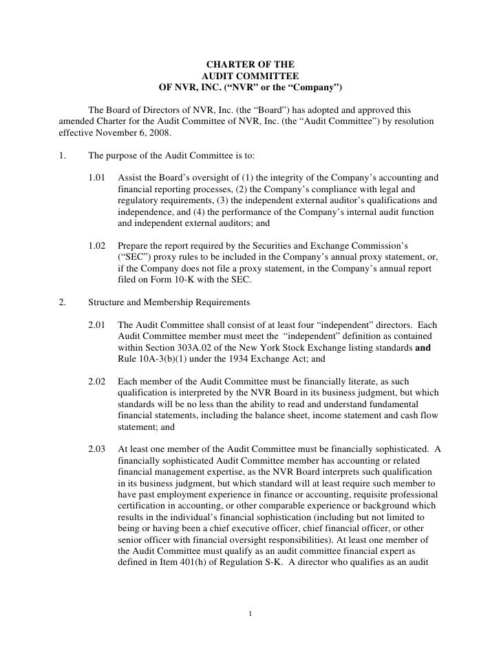 """CHARTER OF THE                                 AUDIT COMMITTEE                         OF NVR, INC. (""""NVR"""" or the """"Company..."""