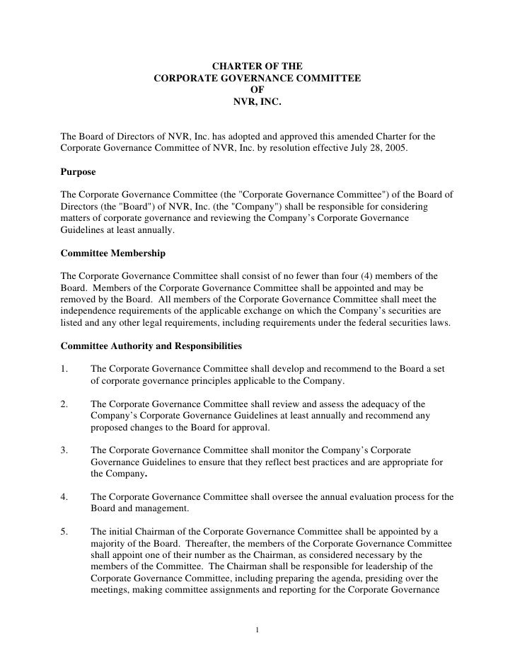 CHARTER OF THE                        CORPORATE GOVERNANCE COMMITTEE                                      OF              ...