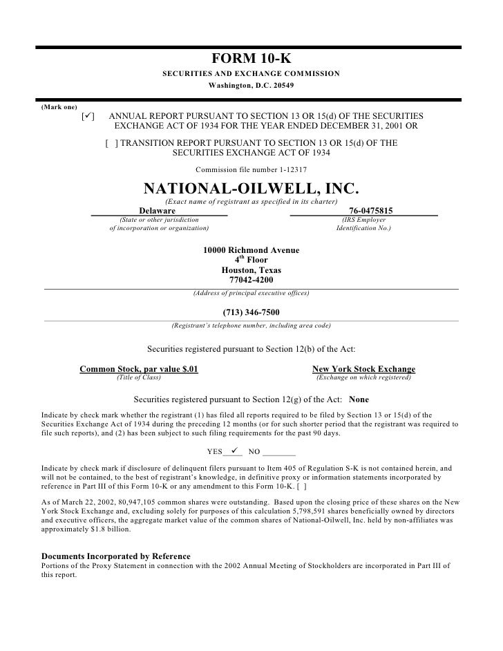 national oilwell varco 2001 Form 10-K