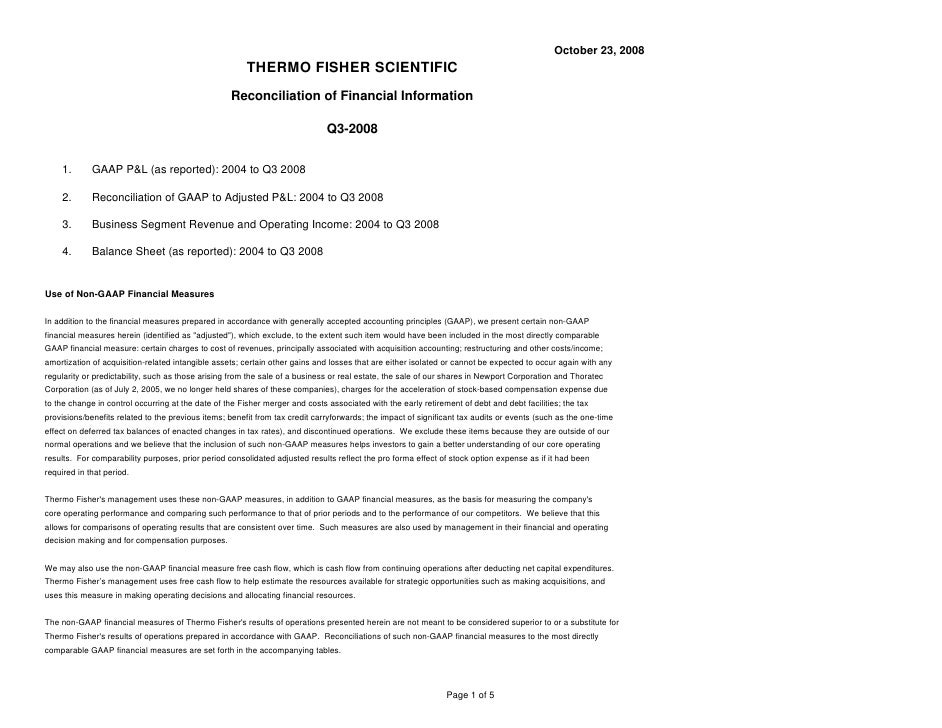 October 23, 2008                                                         THERMO FISHER SCIENTIFIC                         ...