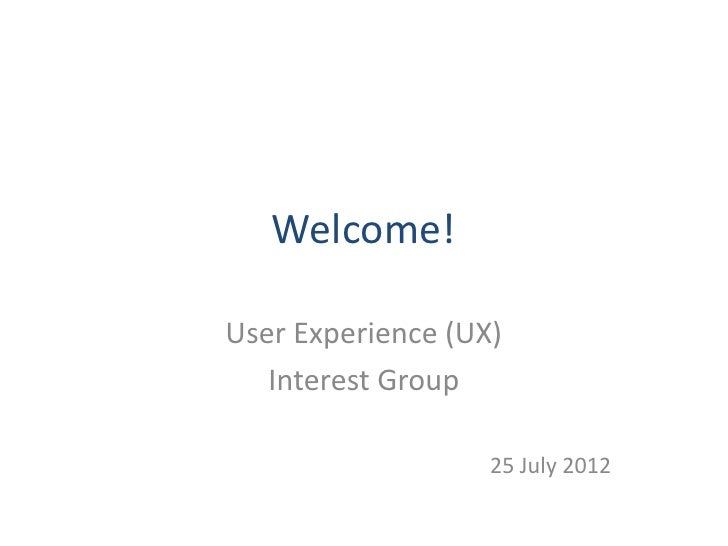 Intro to user experience UX