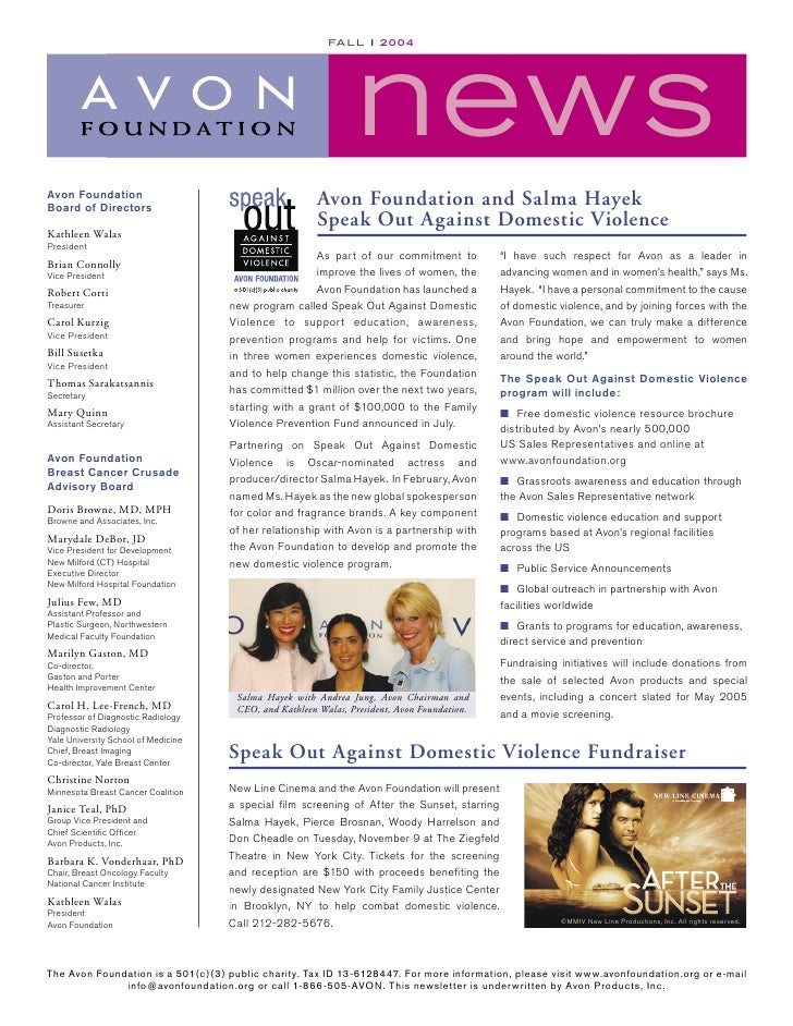 news                                                           FA L L l 2 0 0 4     Avon Foundation                       ...