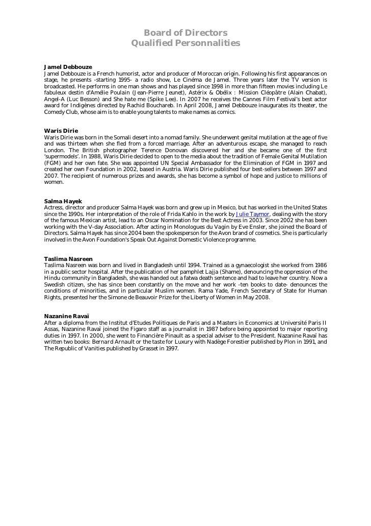 Board of Directors                                    Qualified Personnalities  Jamel Debbouze Jamel Debbouze is a French ...