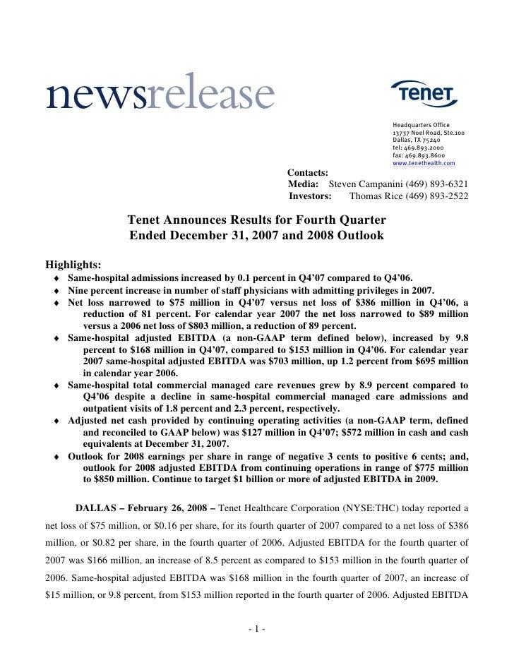 tenet healthcare Earn_Rel_2007_Q4_FINAL2