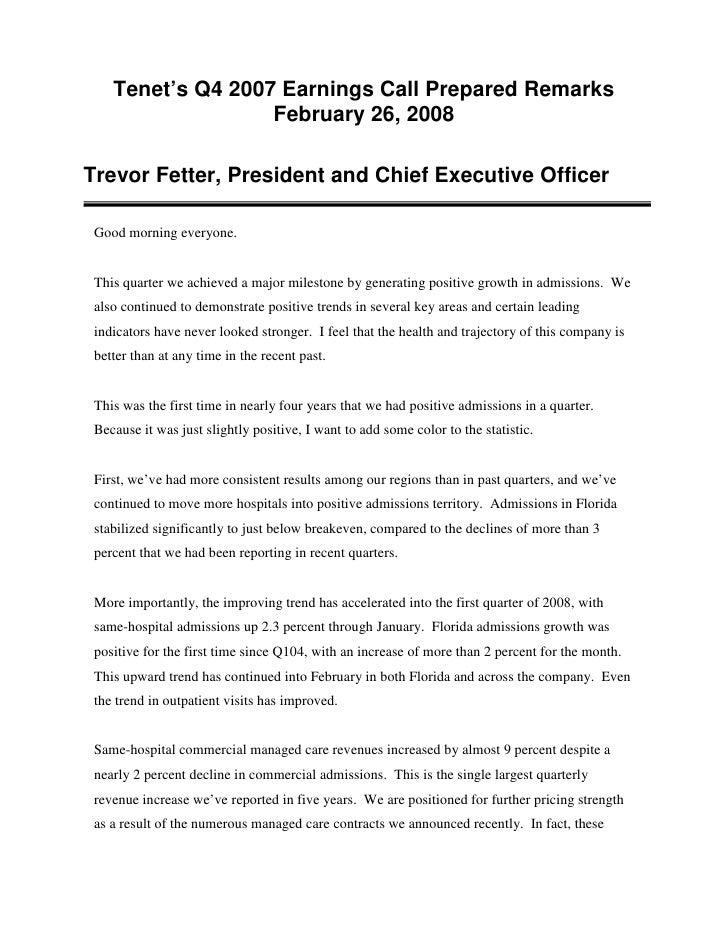 Tenet's Q4 2007 Earnings Call Prepared Remarks                    February 26, 2008  Trevor Fetter, President and Chief Ex...