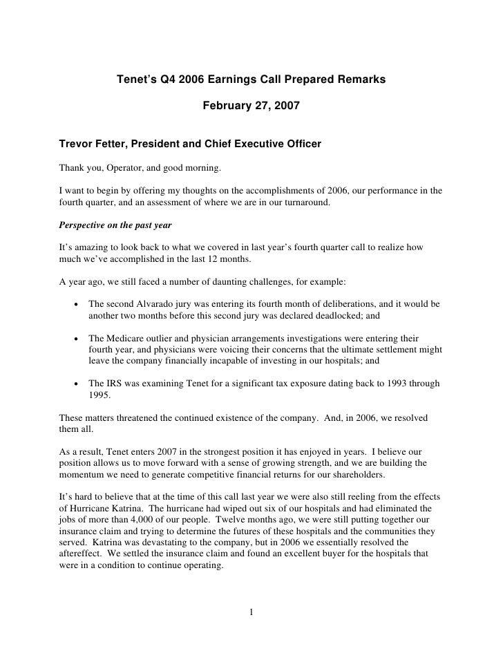 Tenet's Q4 2006 Earnings Call Prepared Remarks                                         February 27, 2007   Trevor Fetter, ...