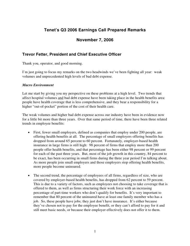 Tenet's Q3 2006 Earnings Call Prepared Remarks                                       November 7, 2006   Trevor Fetter, Pre...