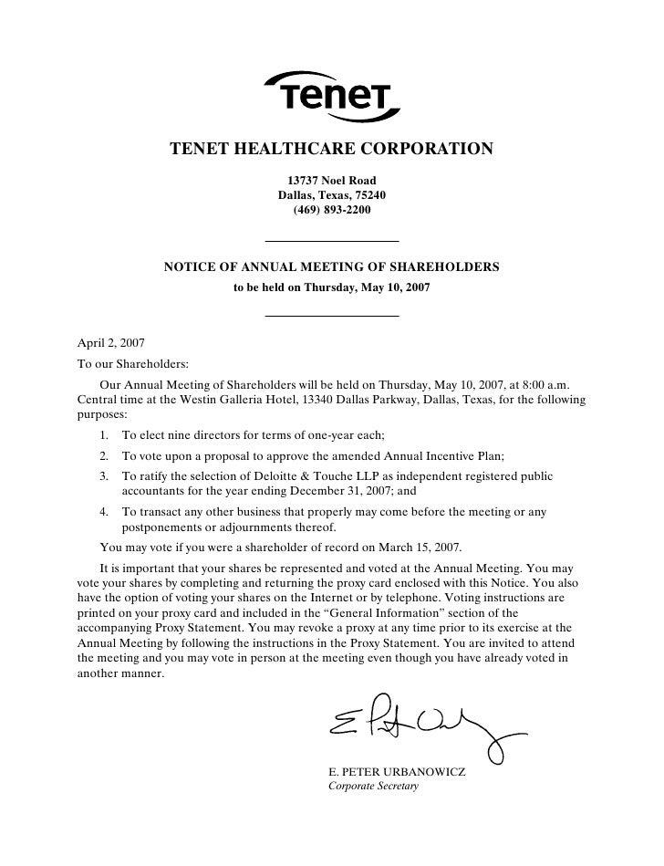 tenet healthcare 2007ProxyStatement