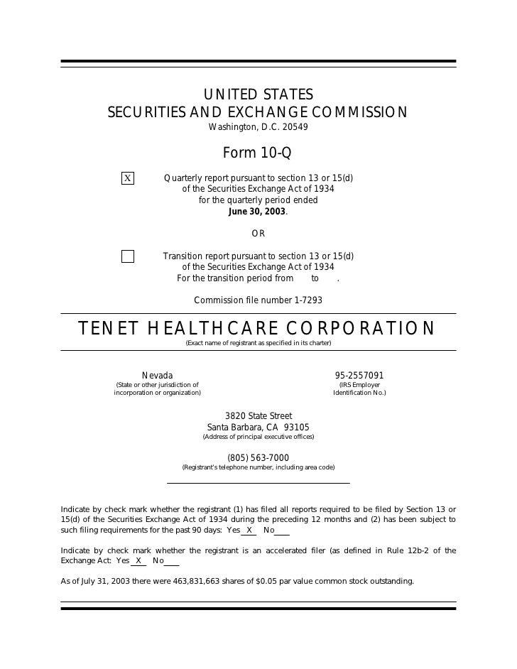 tenet healthcare Form10Q2ndQtrNewCal2003