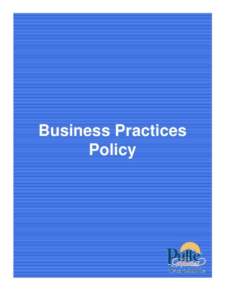 Business Practices       Policy