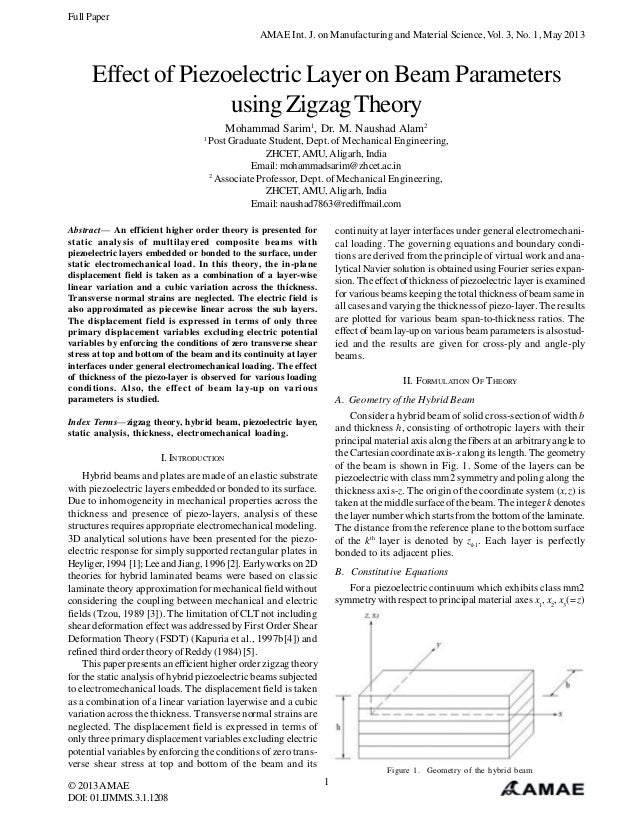Full Paper AMAE Int. J. on Manufacturing and Material Science, Vol. 3, No. 1, May 2013  Effect of Piezoelectric Layer on B...