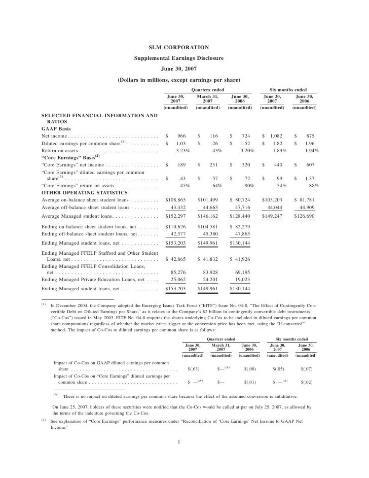 SLM CORPORATION                                                           Supplemental Earnings Disclosure                ...