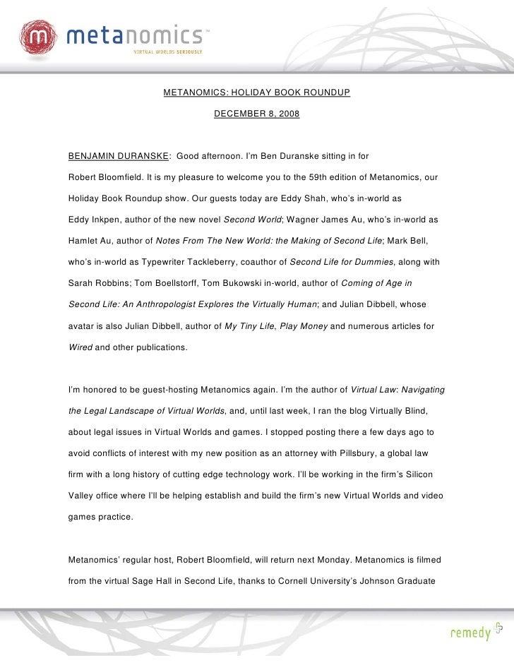 METANOMICS: HOLIDAY BOOK ROUNDUP                                       DECEMBER 8, 2008    BENJAMIN DURANSKE: Good afterno...