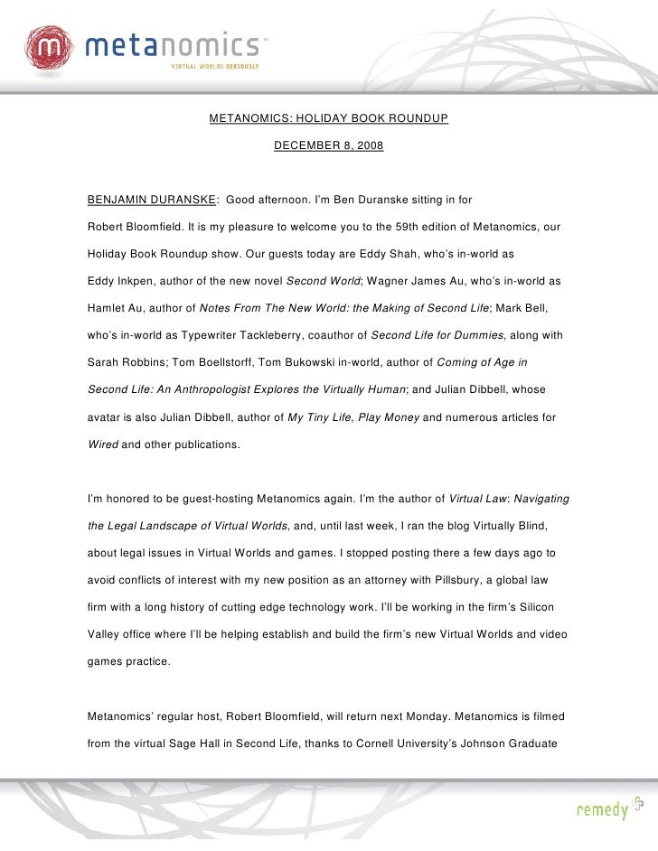 120808 Book Roundup Metanomics Transcript
