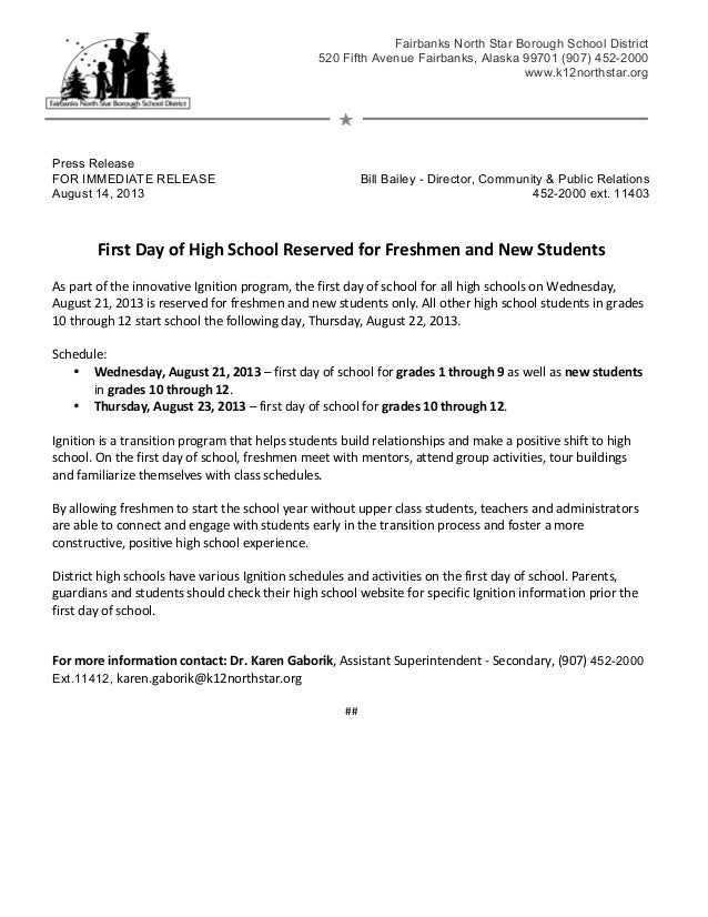 Press Release FOR IMMEDIATE RELEASE Bill Bailey - Director, Community & Public Relations August 14, 2013 452-2000 ext. 114...