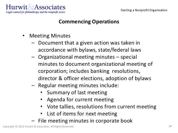 Organizational Meeting Minutes Sample