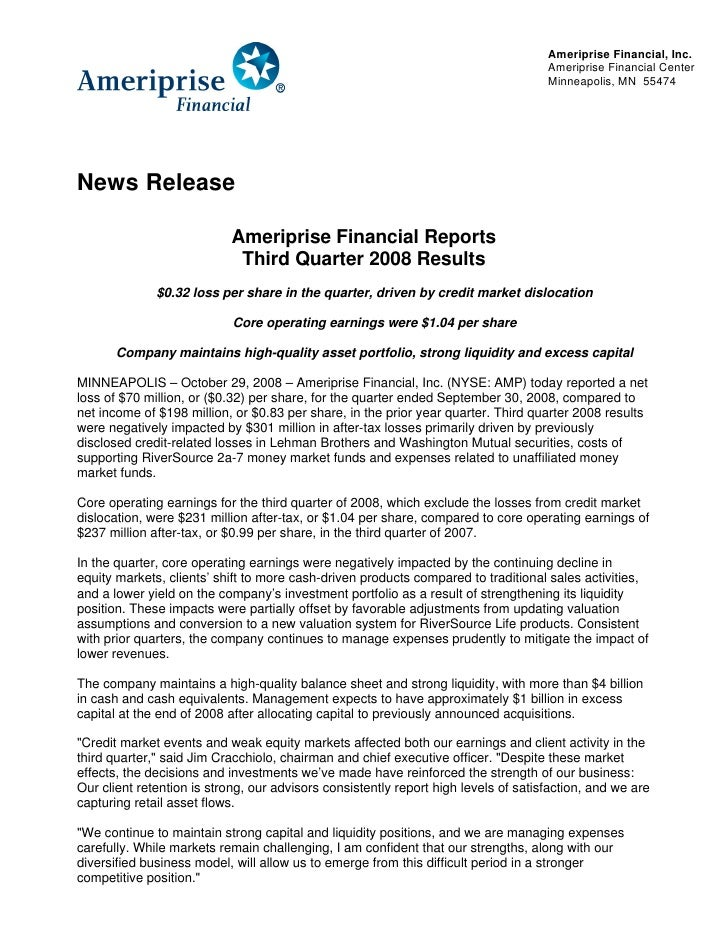 Ameriprise Financial, Inc.                                                                                      Ameriprise...
