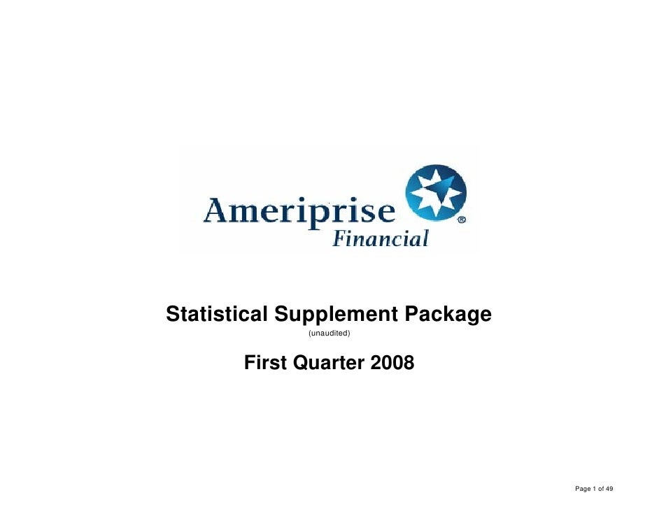 Statistical Supplement Package              (unaudited)           First Quarter 2008                                      ...