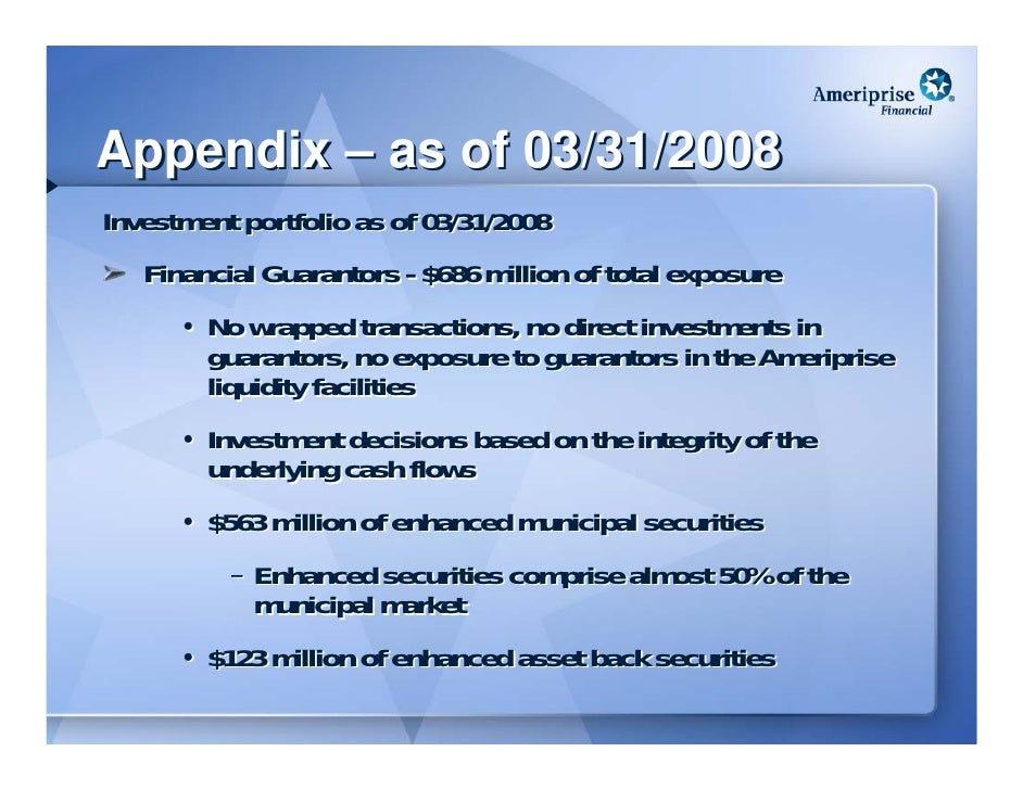 Appendix – as of 03/31/2008 Investment portfolio as of 03/31/2008    Financial Guarantors - $686 million of total exposure...