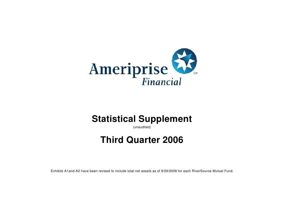 Statistical Supplement                                                   (unaudited)                                  Thir...