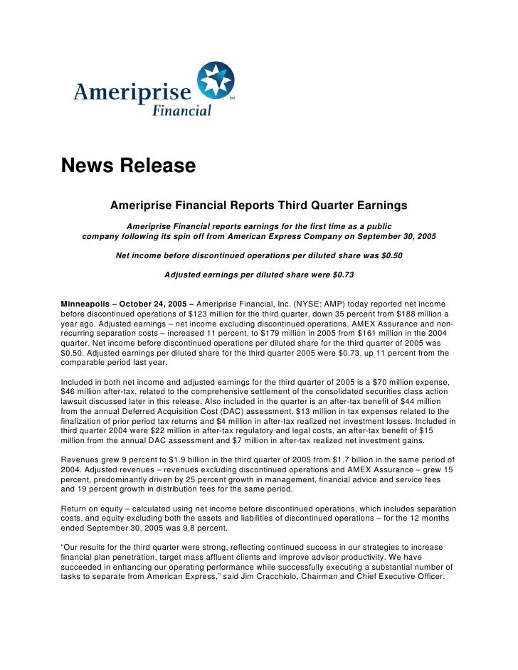News Release              Ameriprise Financial Reports Third Quarter Earnings               Ameriprise Financial reports e...