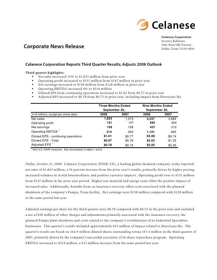 Celanese Corporation                                                                                                     I...