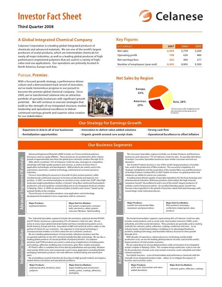 Investor Fact Sheet Third Quarter 2008                                                                                    ...