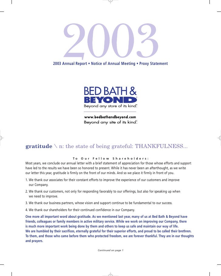 2003 Annual Report • Notice of Annual Meeting • Proxy Statement     gratitude  n: the state of being grateful: THANKFULNES...