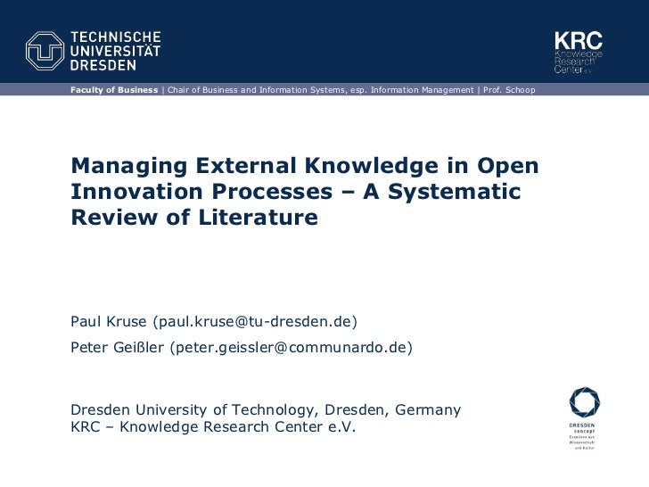 Managing External Knowledge in Open Innovation Processes – A Systematic Review of Literature