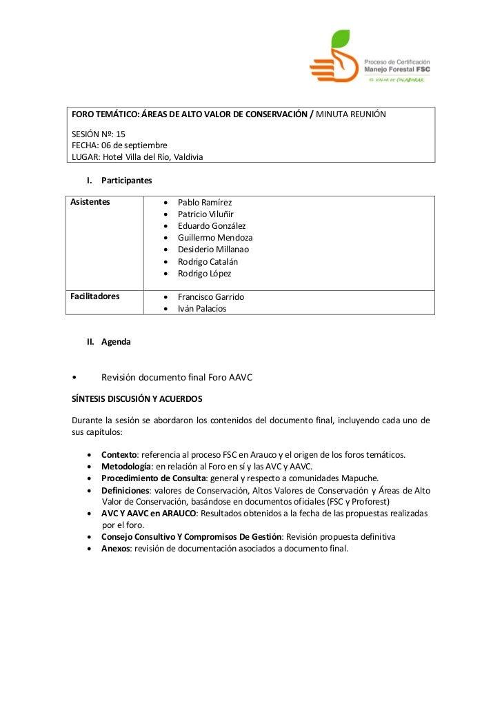 FORO TEMÁTICO: ÁREAS DE ALTO VALOR DE CONSERVACIÓN / MINUTA REUNIÓNSESIÓN Nº: 15FECHA: 06 de septiembreLUGAR: Hotel Villa ...