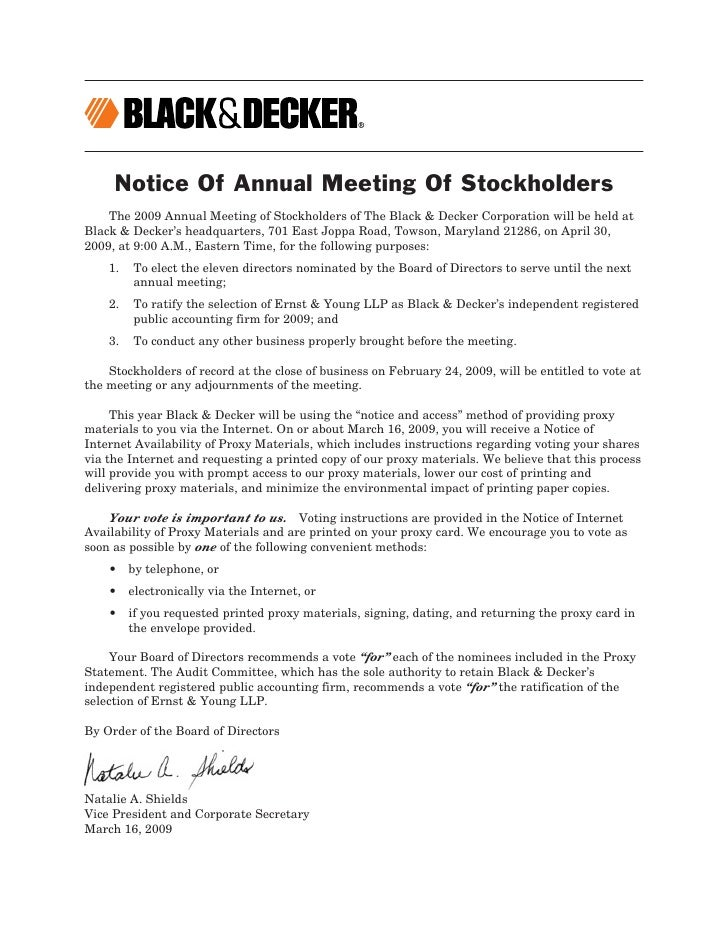 Notice Of Annual Meeting Of Stockholders     The 2009 Annual Meeting of Stockholders of The Black & Decker Corporation wil...