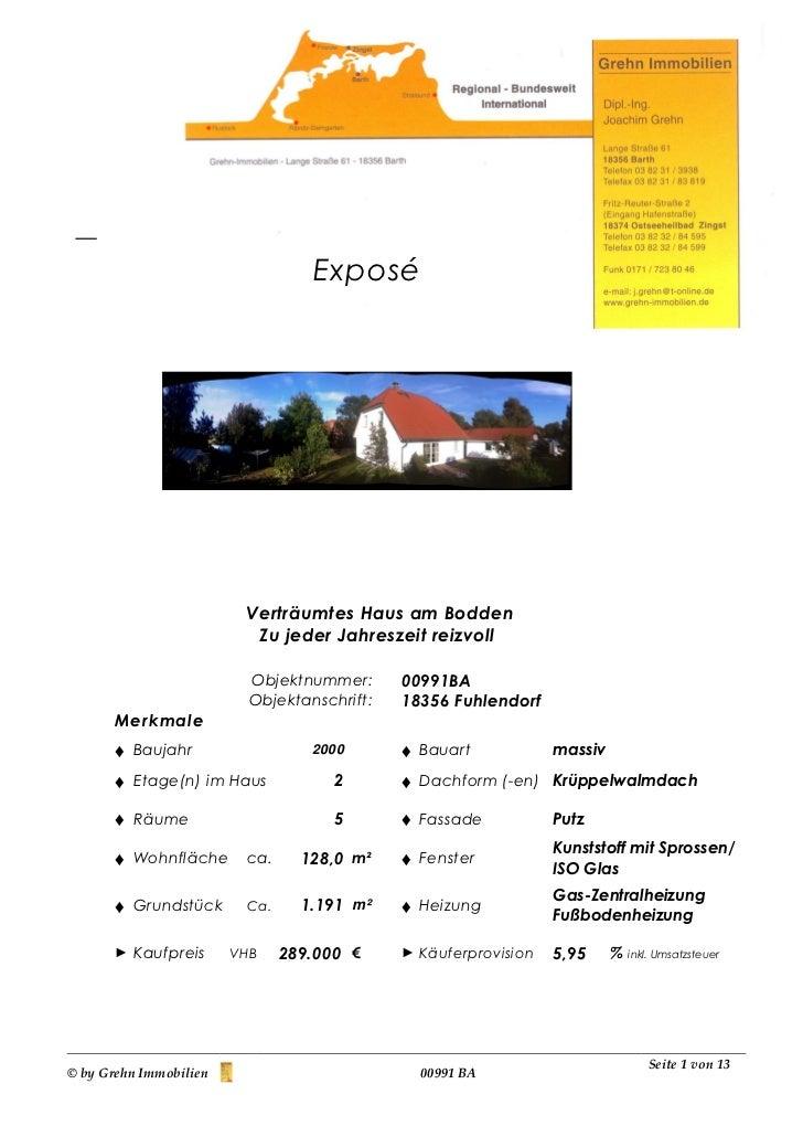 Exposé                         Verträumtes Haus am Bodden                          Zu jeder Jahreszeit reizvoll           ...
