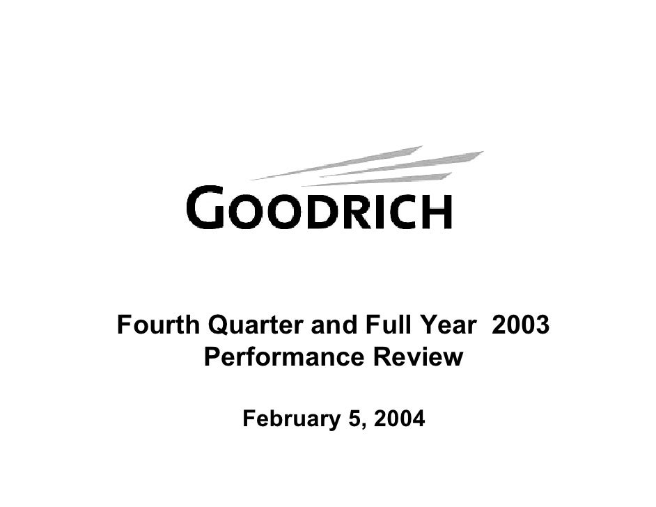 Fourth Quarter and Full Year 2003       Performance Review           February 5, 2004