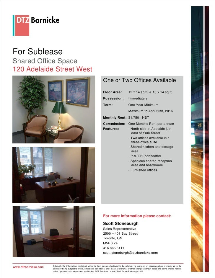 For SubleaseShared Office Space120 Adelaide Street West                                                                   ...