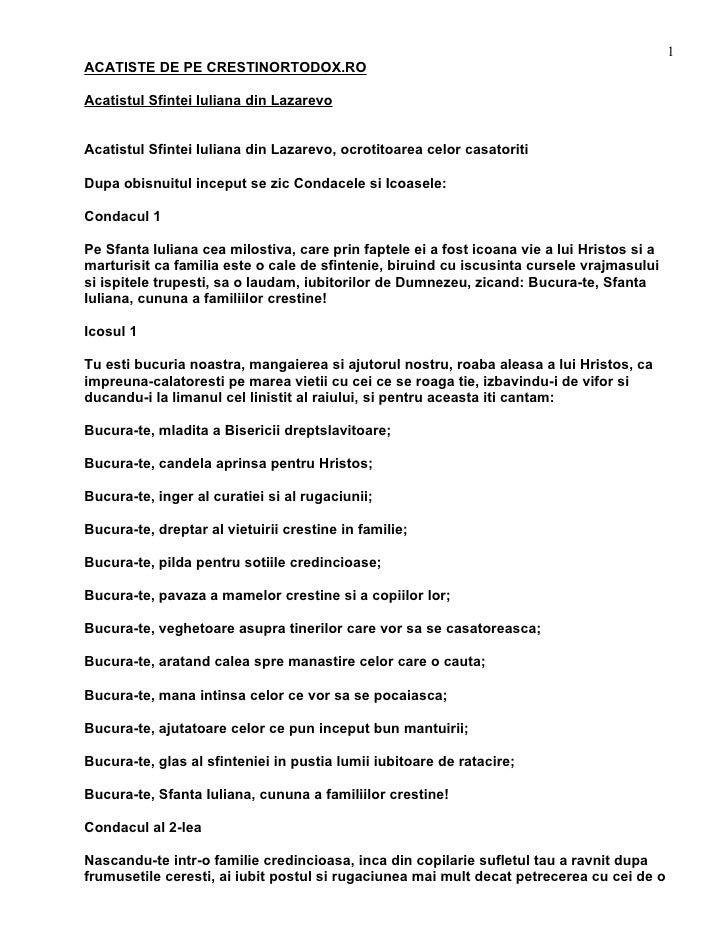 1 ACATISTE DE PE CRESTINORTODOX.RO  Acatistul Sfintei Iuliana din Lazarevo   Acatistul Sfintei Iuliana din Lazarevo, ocrot...