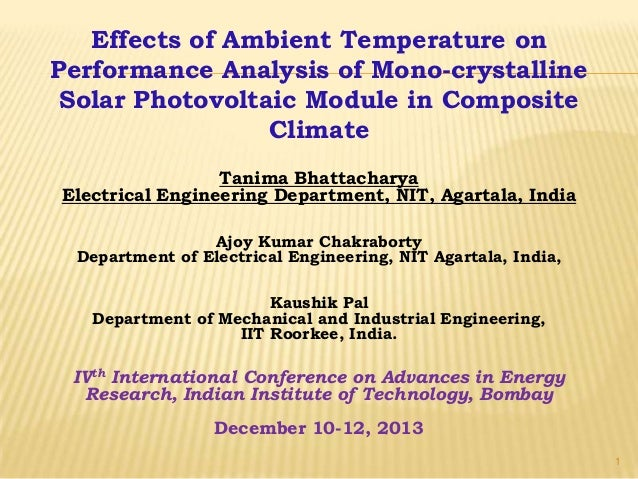 Effects of Ambient Temperature on Performance Analysis of Mono-crystalline Solar Photovoltaic Module in Composite Climate ...
