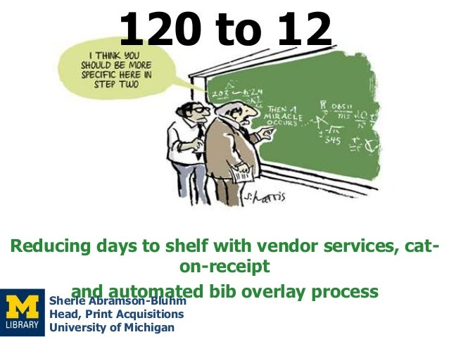 120 to 12  Reducing days to shelf with vendor services, caton-receipt and automated bib overlay process Sherle Abramson-Bl...