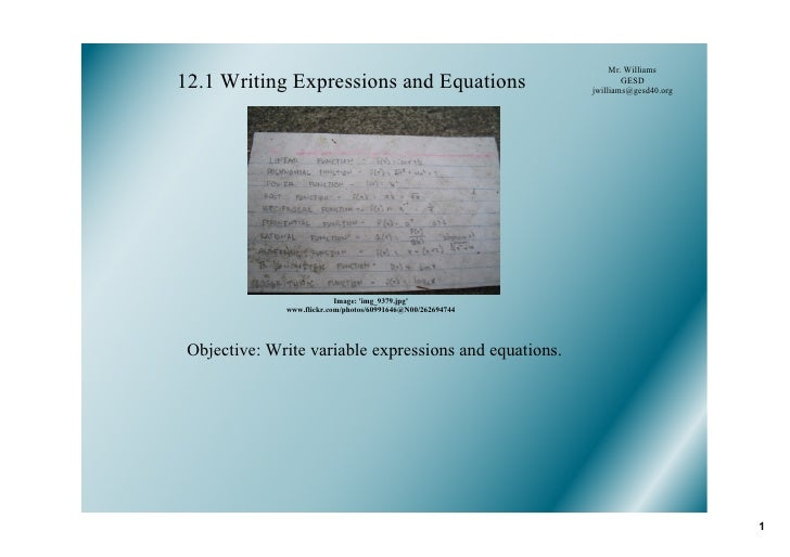 12.1 Expressions and Equations