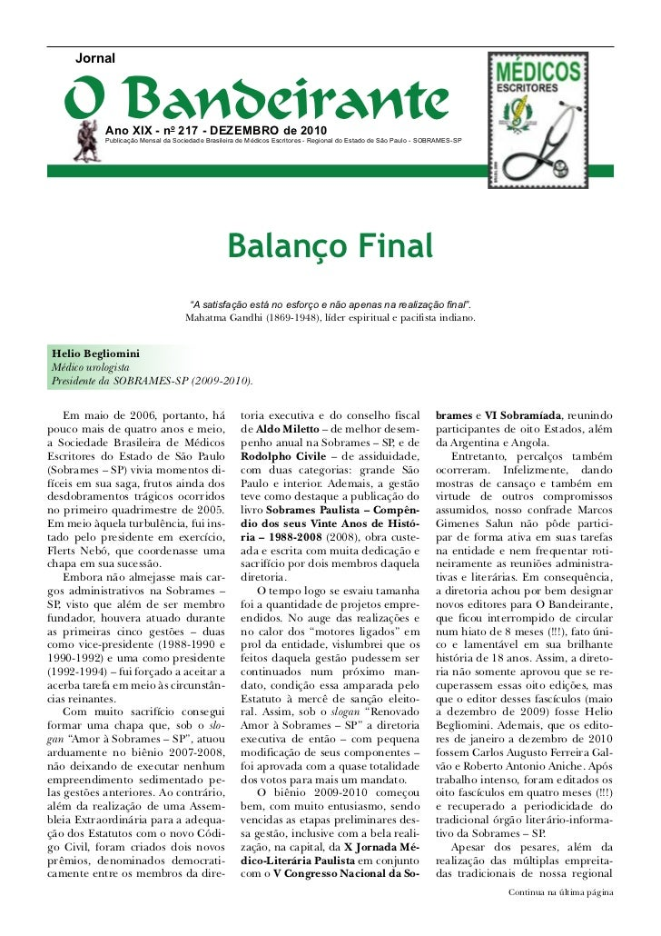 Jornal   O Bandeirante            Ano XIX - no 217 - dezembro de 2010            Publicação Mensal da Sociedade Brasileira...