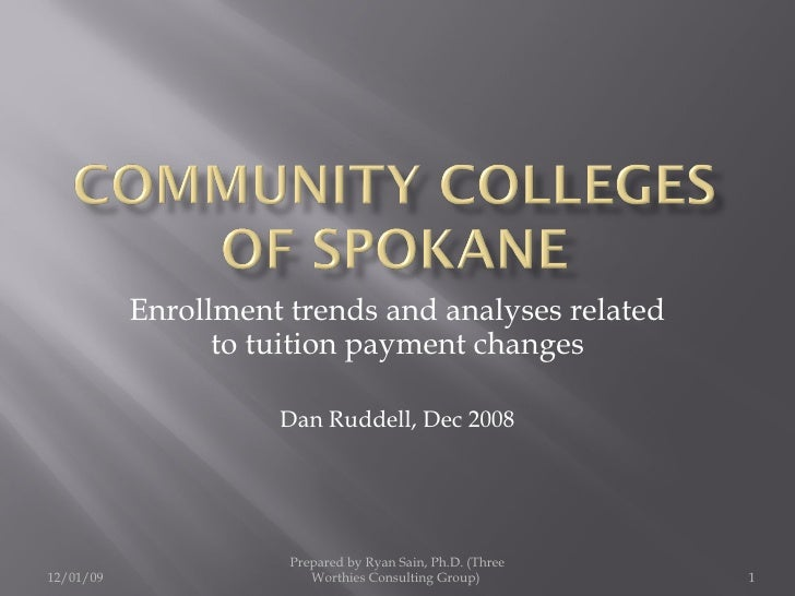 Enrollment trends and analyses related to tuition payment changes Dan Ruddell, Dec 2008 Prepared by Ryan Sain, Ph.D. (Thre...