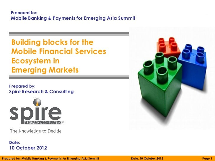 Prepared for:     Mobile Banking & Payments for Emerging Asia Summit     Building blocks for the     Mobile Financial Serv...