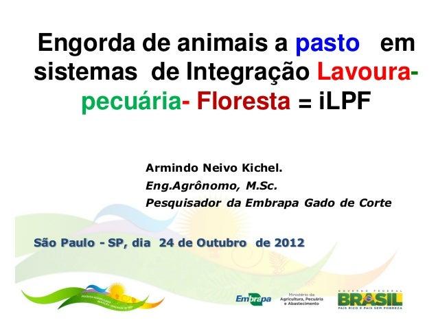 Engorda de animais a pasto emsistemas de Integração Lavoura-    pecuária- Floresta = iLPF                Armindo Neivo Kic...