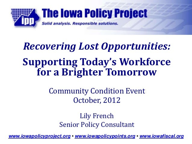 Recovering Lost Opportunities:      Supporting Today's Workforce        for a Brighter Tomorrow                Community C...